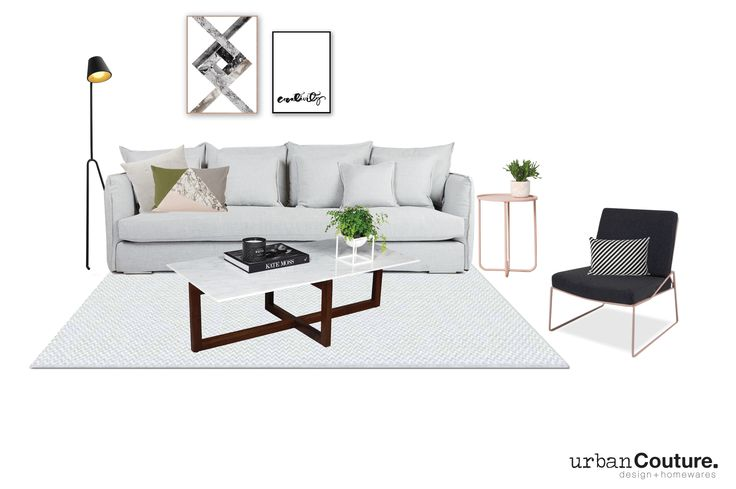 Urban Couture Design + Homewares - Interior Design for a client. Scandinavian Style  featuring our Lisa Sofa and Marcello Carrara Marble Coffee Table.