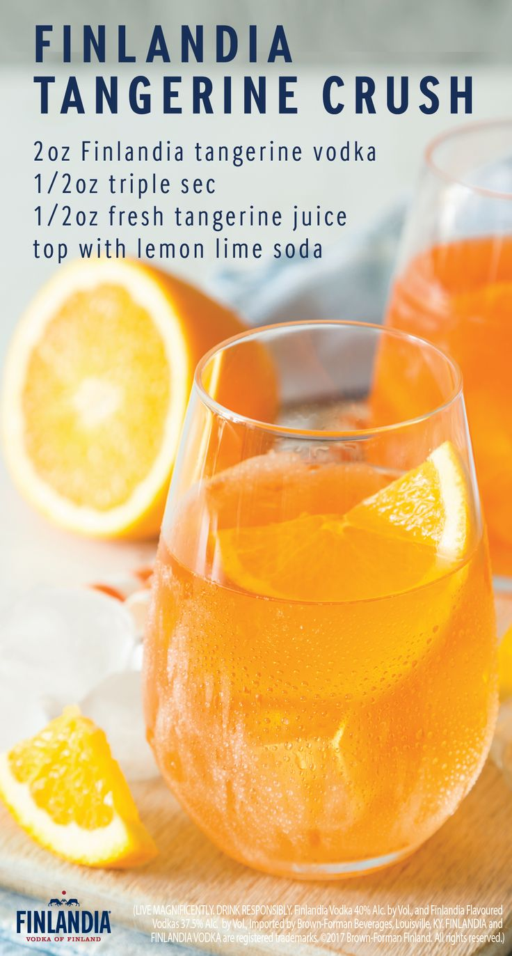 Enjoy the taste of Finlandia Tangerine Vodka in a glass of Tangerine Crush. This flavorful drink is great for any outdoor gathering and is an essential drink for your bar cart. Click here to learn more about this delicious cocktail.