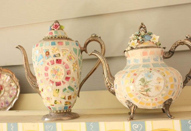 Silver teapots beautifully adorned with mosaic pieces for Mosaic pieces for crafts