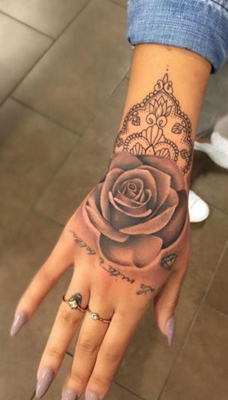 Geometrische Rose Hand Tattoo Ideen für Frauen – einzigartige ...