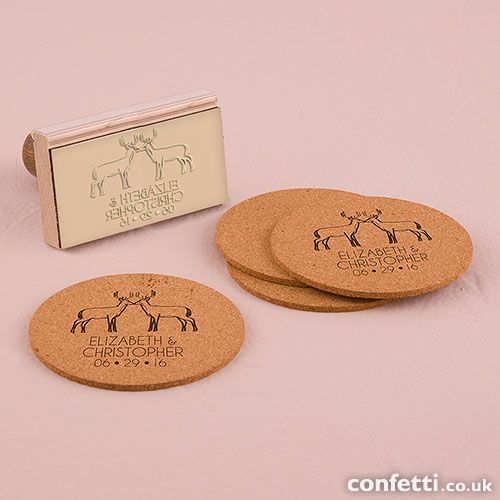 Woodland Style Deer Personalised Rubber Stamp - Confetti.co.uk