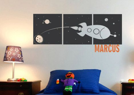 SPACEship Space theme(small) -  Wall Decal Squares with Custom Name - Children's Bedroom/ Nursery wall decal wall decor wall stickers