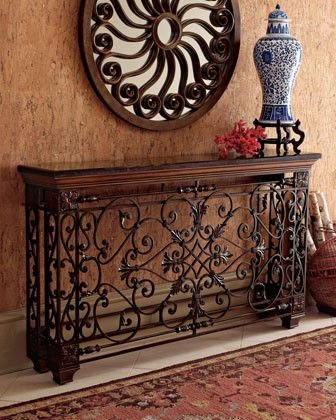 Wrought iron hallway consoles. LOVE THIS! I am thinking, find and old Balcony piece have this Table made How awesome it would look. And you can say you did it! Fabulous project!