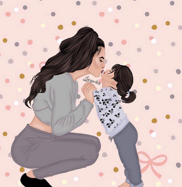 Нарисованная картинка мама с дочкой и сыночком