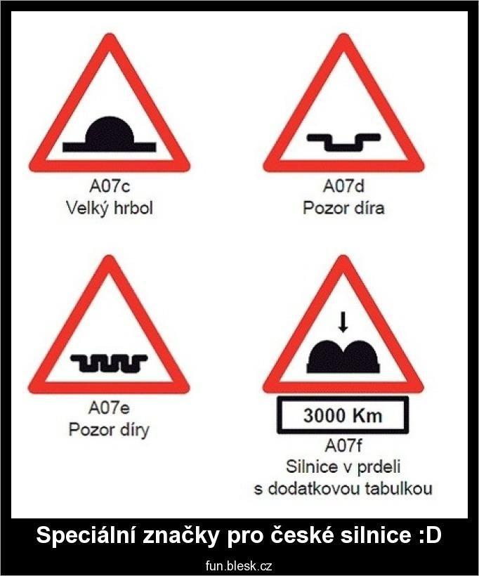 Značky pro české silnice | Vtipné obrázky - obrázky.vysmátej.cz