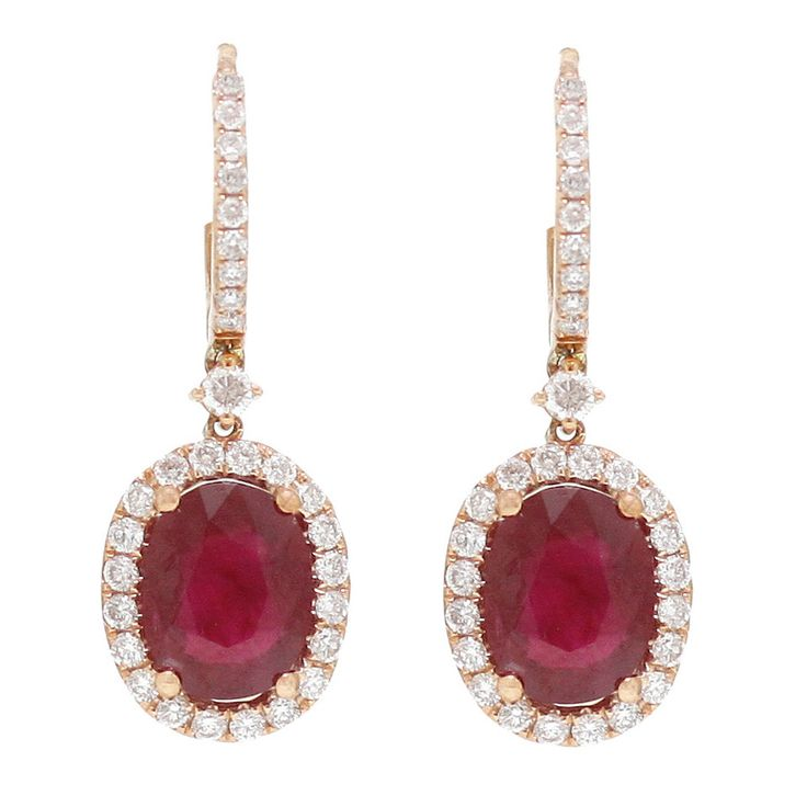 Burdeen's Exquisite Oval Brilliant-Cut Pink Sapphire Diamond Gold Earrings | From a unique collection of vintage drop earrings at https://www.1stdibs.com/jewelry/earrings/drop-earrings/