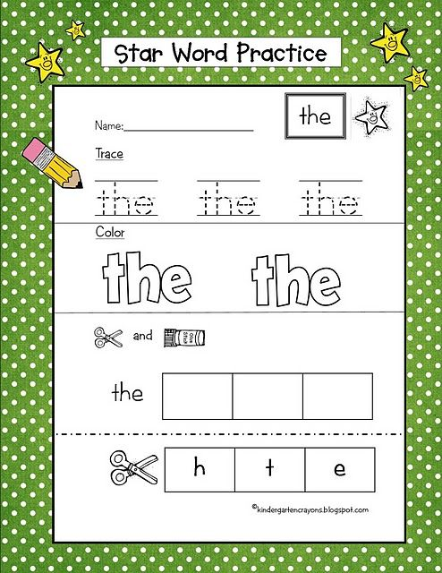 "I pinned this the other day. This one works better. First they trace the sight word (we call them star words), then they take colored pencils and ""rainbow write inside the word"", and finally they cut out the individual letters and glue them in the box in the correct order."