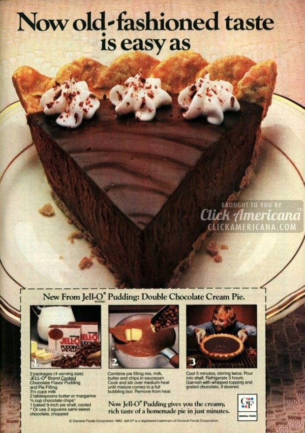 Double chocolate cream pie recipe -- this reminds me of recipes my mom used when we were growing up!!