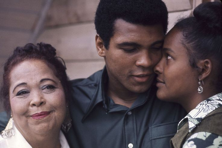 """Classic Photo Of The Day. Odessa Clay, Muhammad Ali and his second wife Belinda aka Khalilah --- Once I saw that brother , I knew that was going to be somebody that I was going to see for the rest of my life. It was history.""""-Khalilah Ali """"This is my wife! Ain't she pretty?!""""-Muhammad Ali """"Belinda is a nice sweet person. I couldn't have a nicer daughter in law.""""-Odessa Clay """"It was an enlightening experience to be married to him. I'm sure it was an enlightening experience for him to be…"""