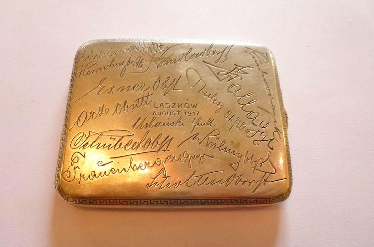 K&K WWI WK1  Absolut seltenes Zigarettenetui Silber LASZKOW 1917 mit den