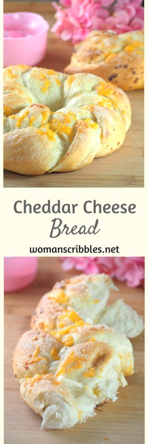 Soft cheddar cheese bread that is packed with cheddar cheese on top and sprinkled with sugar