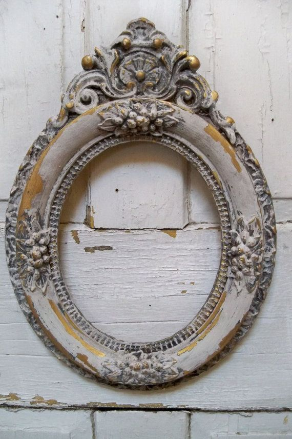 Ornate wood oval frame white French farmhouse distressed aged wall decor anita spero