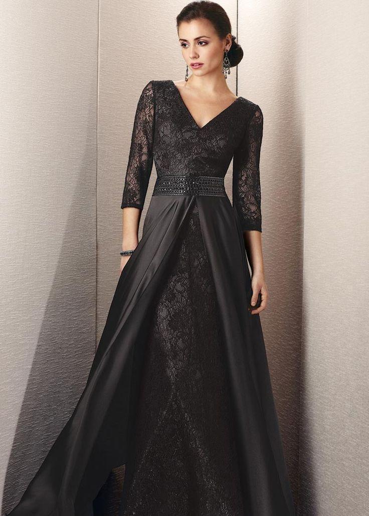 A line lace v neck natural waist floor length v back 3 4 for Pinterest wedding dresses for mother of the bride