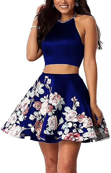 aecf1986d6 LL Bridal Two Piece Halter Beaded Floral Homecoming Dresses Short Evening  Gowns Size 6 Royal Blue at Amazon Women s Clothing store