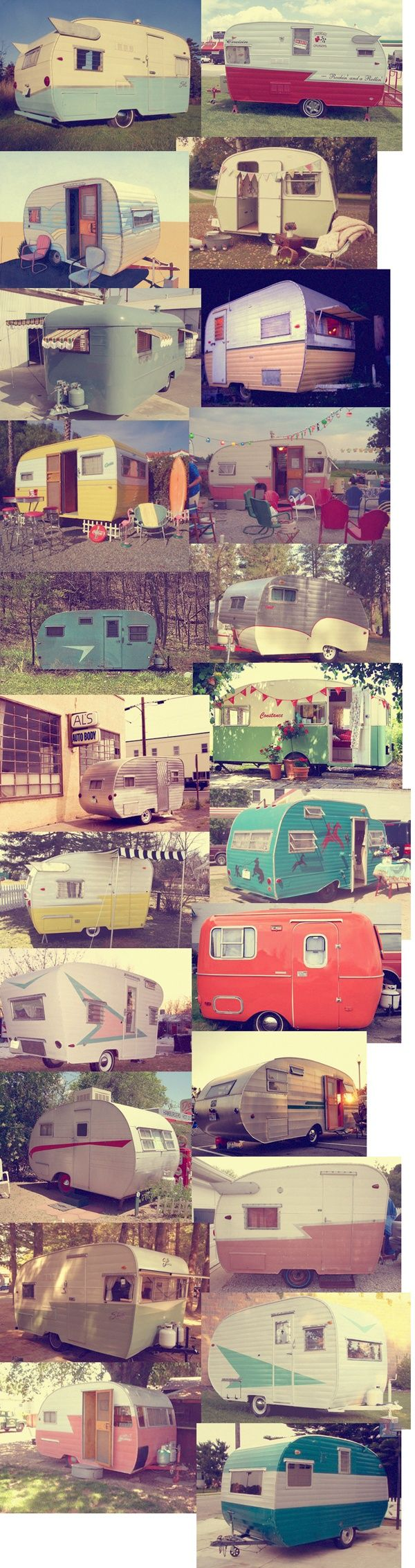 Vintage Campers. Would LOVE to travel in these one day.