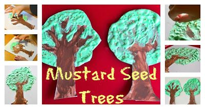 Homemade 3D Puffy Paint  Project Ideas from In Lieu of Preschool. Mustard Seed Trees based on the Parable of the Mustard Seed.  This is one of the Bible stories covered in Workshop of Wonders VBS, and this would be a great, hands on craft activity for our preschool groups!  #firstpresorangeburgvbs