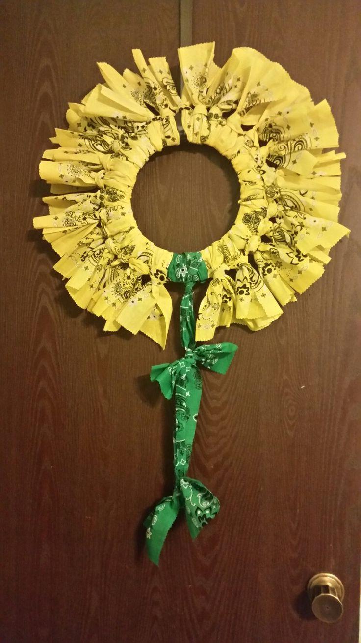 Sunflower wreath made from bandanas