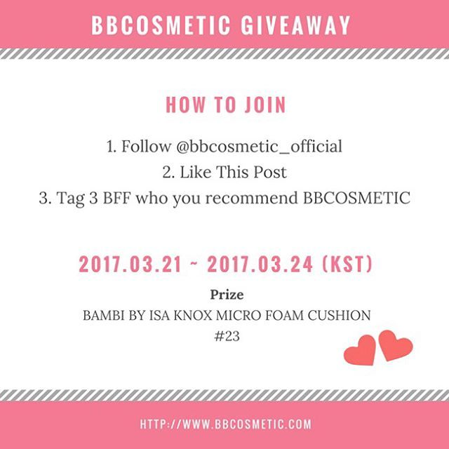 The event is going on instagram @bbcosmetic_official.