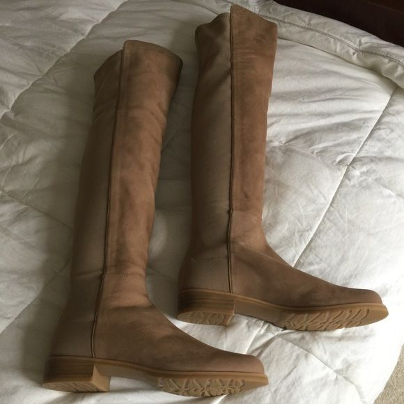 "SALE! Stuart Weitzman 5050 Boots, Tan Nubuck, Sz 8 GORGEOUS and Just reduced!! NWOB, NEW Stuart Weitzman 5050 Over the Knee boots, NEW, Size 8 M, Color: Tan Nubuck Suede and manmade elastic upper, soft leather lining, rubber sole; Round toe; pull on; stretch back. NEVER worn!!!  1"" heel;  21"" front shaft, 19"" back shaft; 14.25"" flexible circumference. AN AMAZING DEAL FOR THESE NEW BOOTS!! Stuart Weitzman Shoes Over the Knee Boots"
