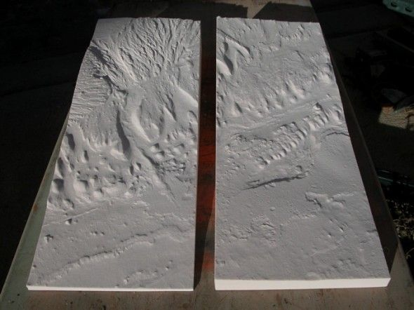 Model of a recent NASA Mars Rover landing site in the Gale Crater. Carved into Precision Board Plus PBLT-20 at 600 data points per inch resolution. Using high resolution data from a Mars HiRISE image. Made by Clinton Systems.