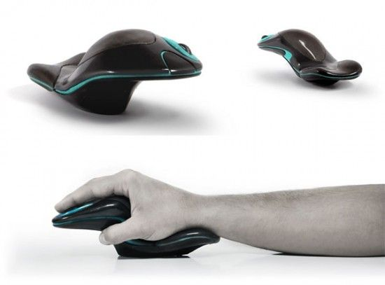 Ergonomic Mouse shows a unique form to allow for its useful function.