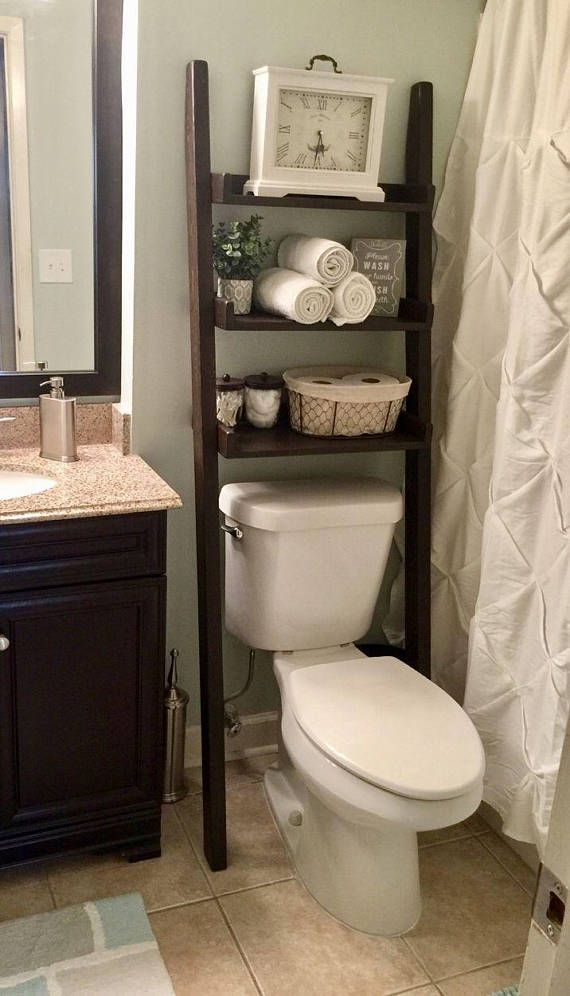 Over The Toilet Leaning Ladder Shelf Made To Order Decor Bathroom Space Saver Bathroom Storage Farmhouse Storage Bathroom Remodel With Images Bathroom Space Saver Over The Toilet Ladder Shelves Over Toilet