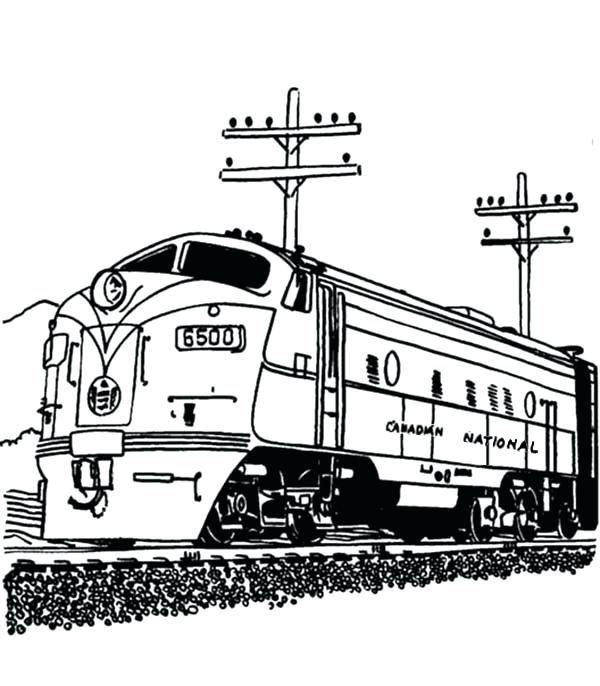 Coloring Pages Of Trains Railroad Streamlined Diesel Engine Train