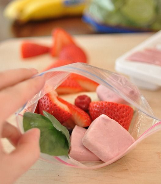 yogurt frozen in ice cube trays and then all smoothie ingredients in individual baggies for easy making later!