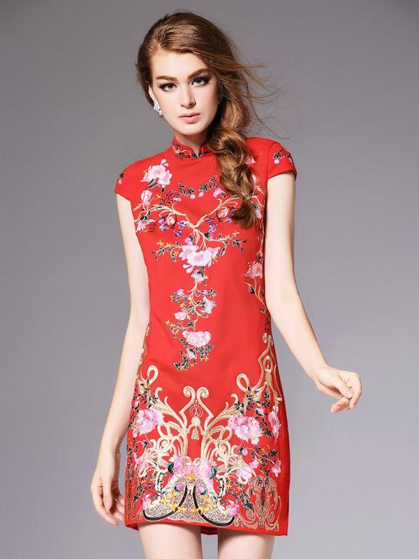 Dress Qipao Embroidery Long Floral Maxi Cheongsam Short Sleeve Evening Cocktail