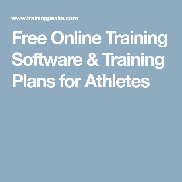 Free Online Training Software & Training Plans for Athletes