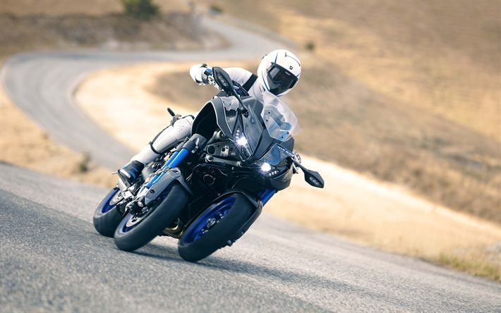 Download wallpapers Yamaha Niken, 4k, road, 2019 bikes, EICMA 2017, 3 wheel motorcycle, Yamaha