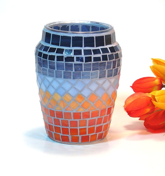 Stained glass mosaic vase