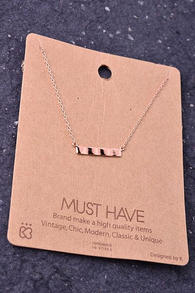 Bar Pendant Necklace Rose gold, morphed bar pendant on a dainty chain. Collar bone length. Perfect for everyday wear. Pairs well with both silver and gold jewelry. Nickel free.