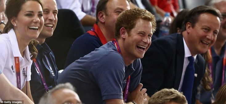 Catherine, Duchess of Cambridge, Prince William, Duke of Cambridge, Prince Harry and Prime Minister David Cameron laugh as they watch the track cycling on Day 6 of the London 2012 Olympic Games