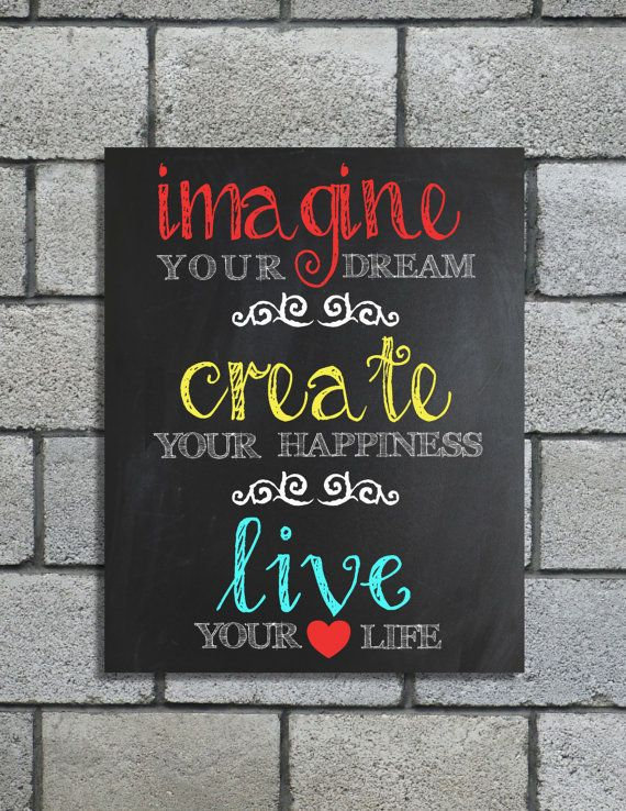 Chalkboard 8x10  Printable Imagine Your Dream Wall Art - Instant Download - Red, Yellow, Turquoise Chalk