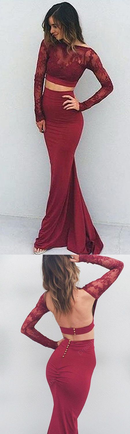 Charming Burgundy Mermaid Prom Dress - Bateau Long Sleeves Long Backless with Lace,PD455831 #dresses #promdresses #fashion #shopping #eveningdresses #prom