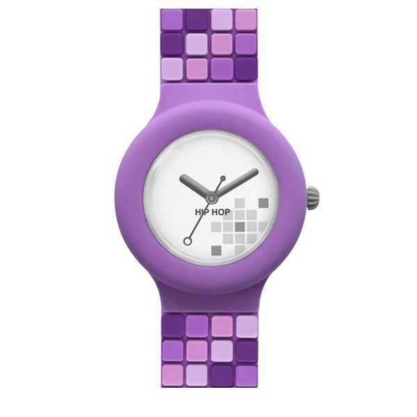 Il colore viola e la composizione del disegno a mosaico dipinto a mano fanno dell'orologio Hip Hop Mosaic Shades Violet un must have di ogni donna trendy!