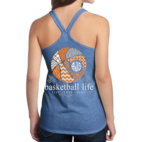 Official Tm Basketball Life Custom Monogram Tank Volleyball Shirt ($25) ❤ liked on Polyvore featuring tops, pink, tanks, women's clothing, letter shirts, pink shirt, monogram tank top, pink tank and blue top