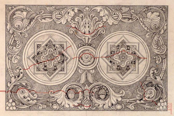 эскиз лепного орнамента В.А. Косяков