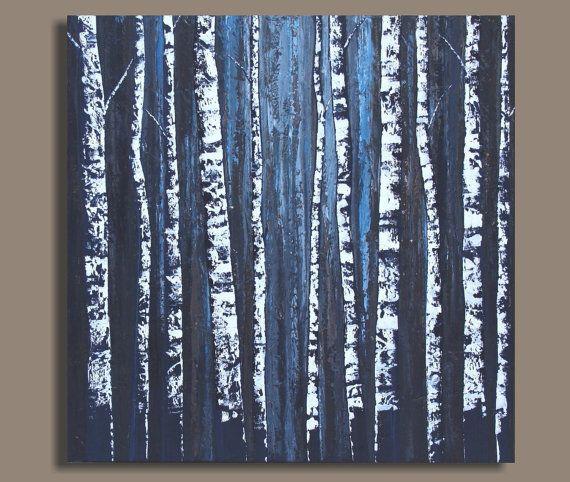 Peinture abstraite de peinture (36 x 36) arbre bouleau énorme de bouleaux, de la peinture originale de bouleaux