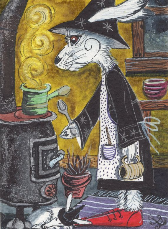 Early Morn'up Brew... A4 Archival Print of Ursula the White Hare Witch - whimsical cosy hygge fantasy art print