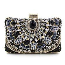 Роскошные высокое качество ручной работы из бисера цепи алмазов драгоценный камень черный вечерняя ну вечеринку сумки , клатч мини-сумка(China (Mainland))