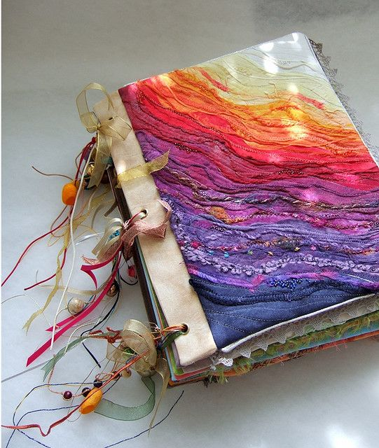 "Love the colours on this. I might think of something similar for my current art journal. - Front cover of fabric book ""Ephemera"" by Cecile Yadro."