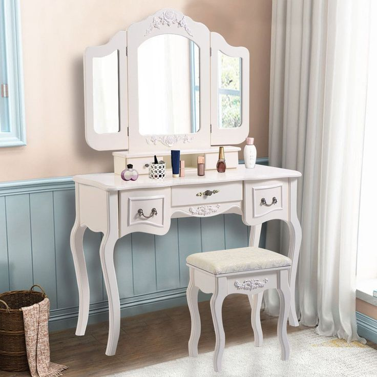 Costway Tri Folding Vintage White Vanity Makeup Dressing Table Set bathroom 5 Drawers &stool