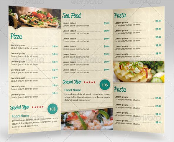 """Awesome Trifold Restaurant Menu This PSD flyer template is perfectly Suitable for Restaurant, Catering, Cafeteria etc. Easy to edit font, text, color, fully adobe Photoshop format. When youíll open files you will see some Dark Grey Aea to Repalce Photos, go to layers and double click on """"pic"""" layers .Paste your photo Use the preview image as reference to understand the original layout. Size: 11.93×8.50 with bleed Bleed Fully editable Photoshop Resolution: 300 dpi Color mode: CMYK Files…"""