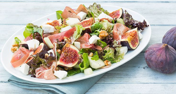 Fig salad with parma ham and pear/ Vijgen salade met geitenkaas, parmaham en peer (recipe is in Dutch)