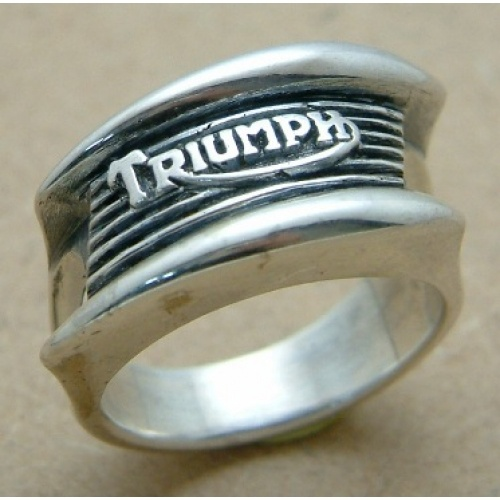 Triumph Bonneville Ring In 925 silver this ring is a reproduction of the famous Triumph Bonneville tank badge with the classic mouth organ design. This beauty will please the most ardent enthusiast. Please remember to specify the size in the comments field of the order. We will always exchange the ring for a different stock size if it doesn't fit to your satisfaction. All our rings are 925 silver and therefore most jewellers will be able to change the size quite easily.