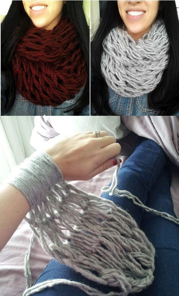 Arm Knitting Infinity Scarf (DIY video) - by All Day Chic -- http://alldaychic.com/arm-knitting-30-minutes-infinity-scarf-diy/ The Kurtz Corner -- http://www.thekurtzcorner.com/2013/09/arm-knitting-diy-30-minute-infinity.html