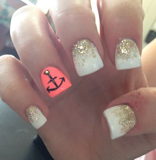 white & gold with an anchor nails...@Cassie Burnette this made me think of you!