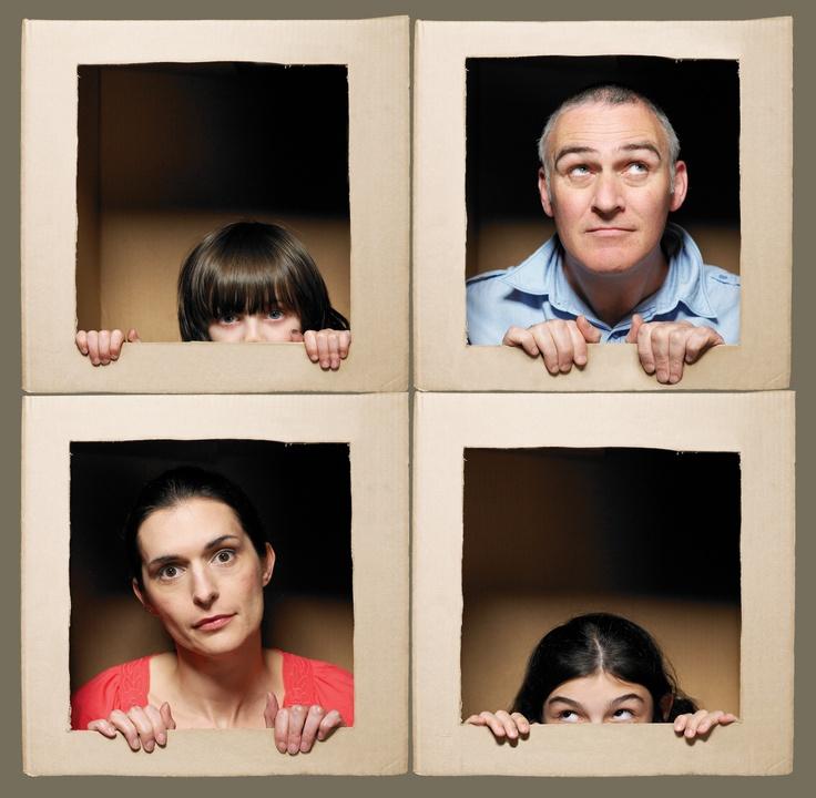 Cute family photo idea with a cardboard box.